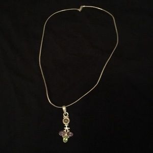 Sterling silver chain and gemstone pendant